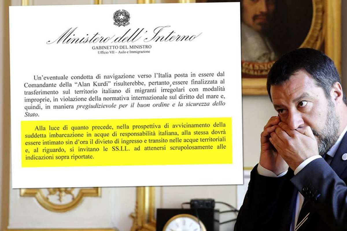 Salvini ha inviato una direttiva per impedire l'ingresso in acque italiane alla nave Alan Kurdi