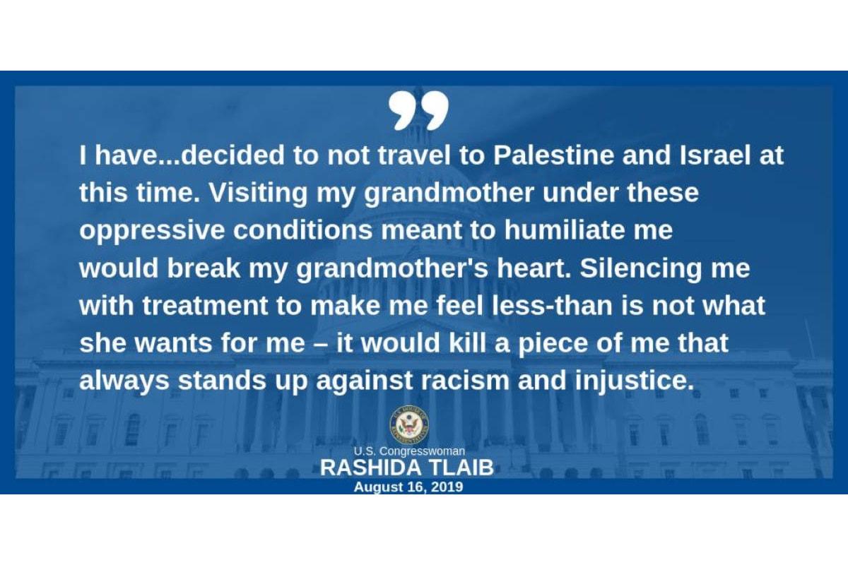 Rashida Tlaib rinuncia al viaggio: non permetterò al governo israeliano di umiliare me e la mia famiglia