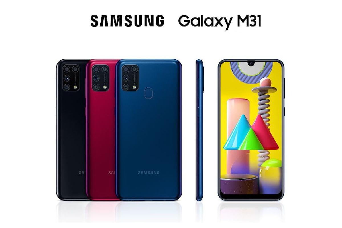 Samsung Galaxy M31 disponibile ufficialmente in preordine in Italia: grande batteria, fotocamera da 64 MP...