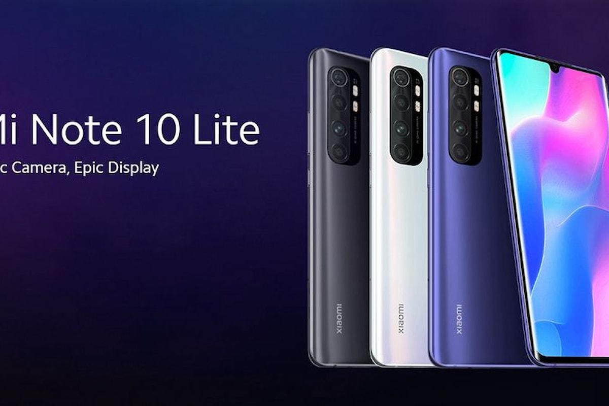 Xiaomi Mi Note 10 Lite arriva ufficialmente in Italia a 399,99 euro