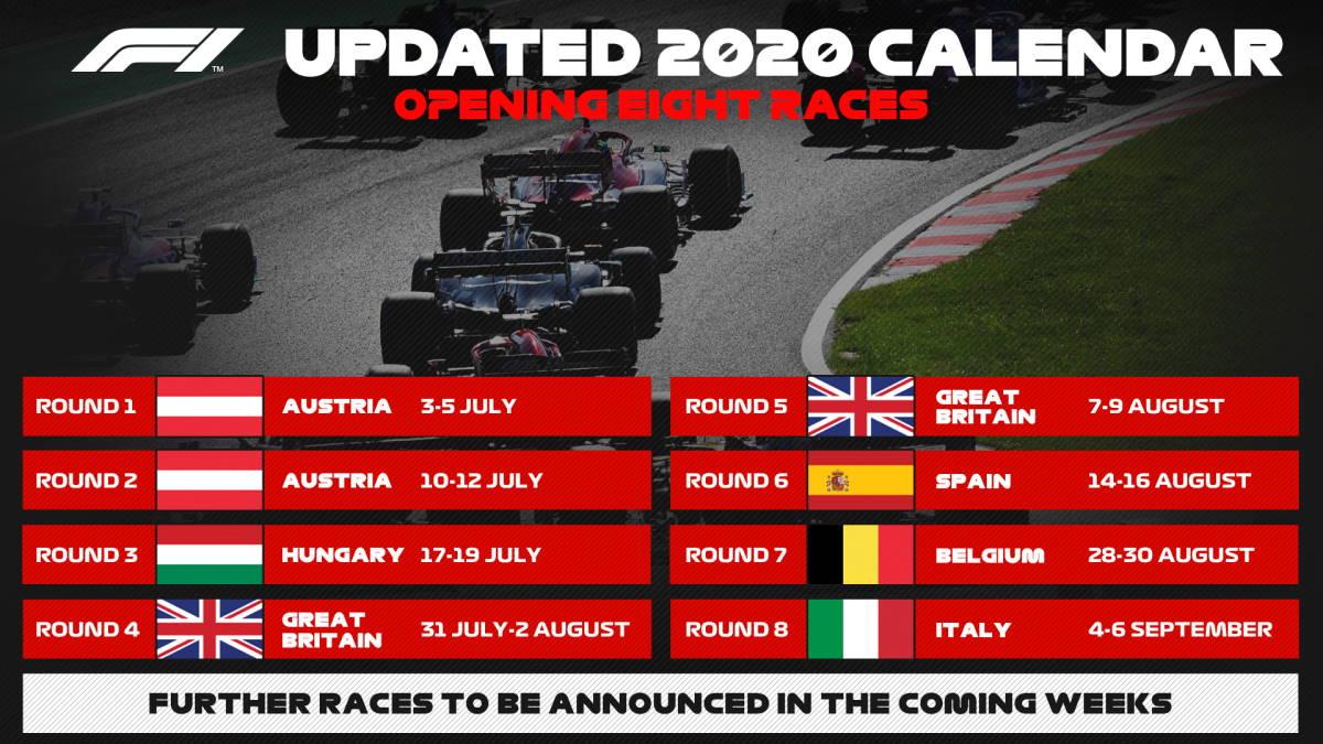 Formula 1: fissato il calendario con le prime 8 gare che si disputeranno tutte in Europa