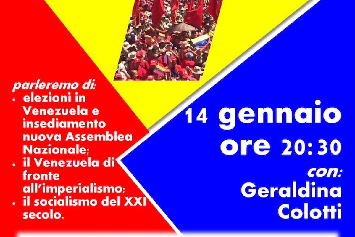 Giovedì 14 gennaio videoconferenza Venezuela ieri, oggi, domani un occasione di approfondimento