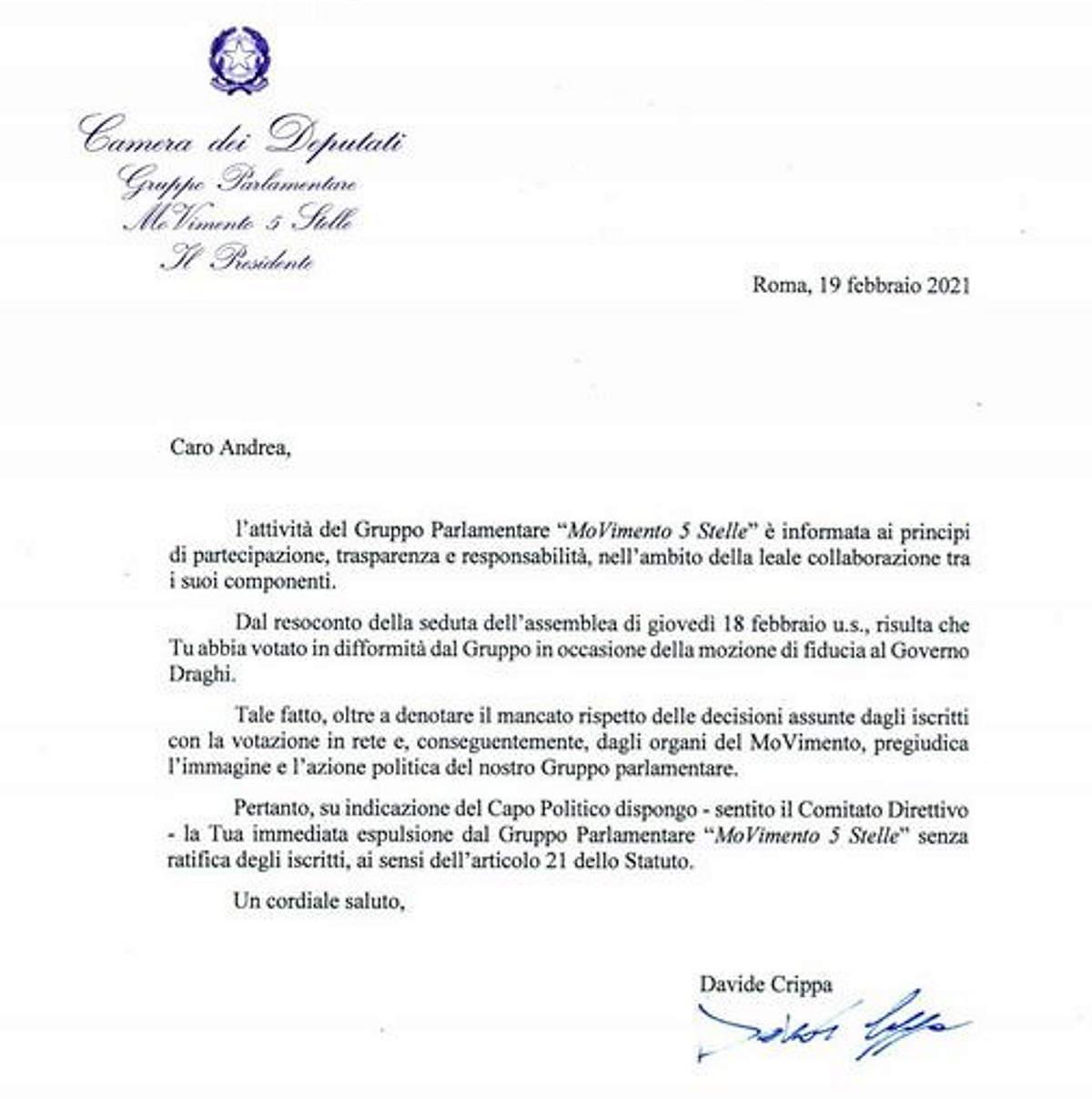 M5S: Colletti pubblica lettera espulsione, violato il voto della base