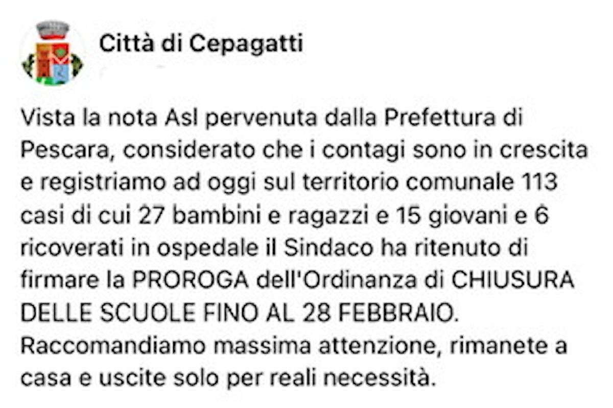Covid19: impennata di casi a Cepagatti e scuole chiuse fino al 28 febbraio