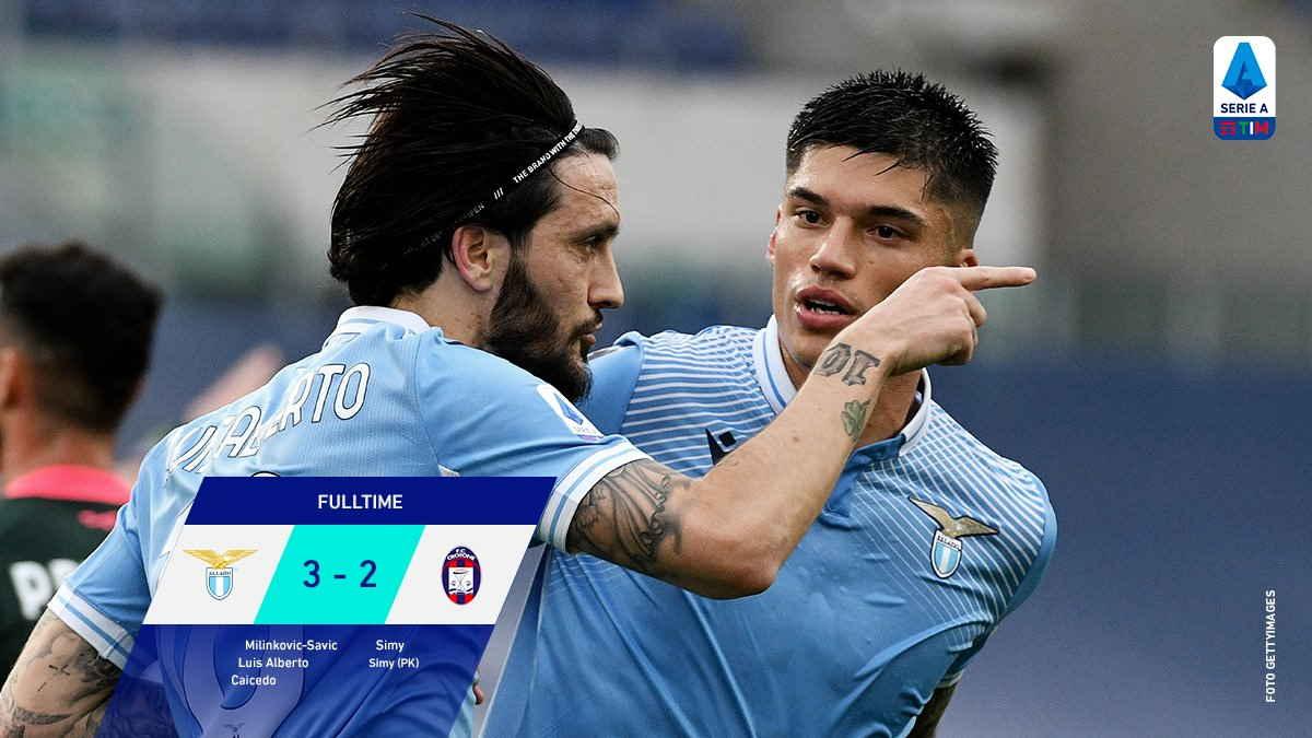 Serie A, 27.a giornata: Lazio - Crotone 3-2