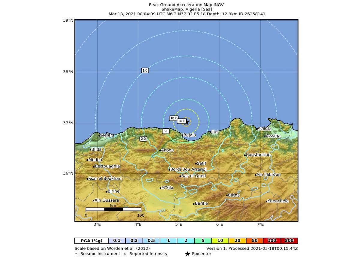 Nel mare di fronte all'Algeria una forte scossa di terremoto avvertita anche in Italia