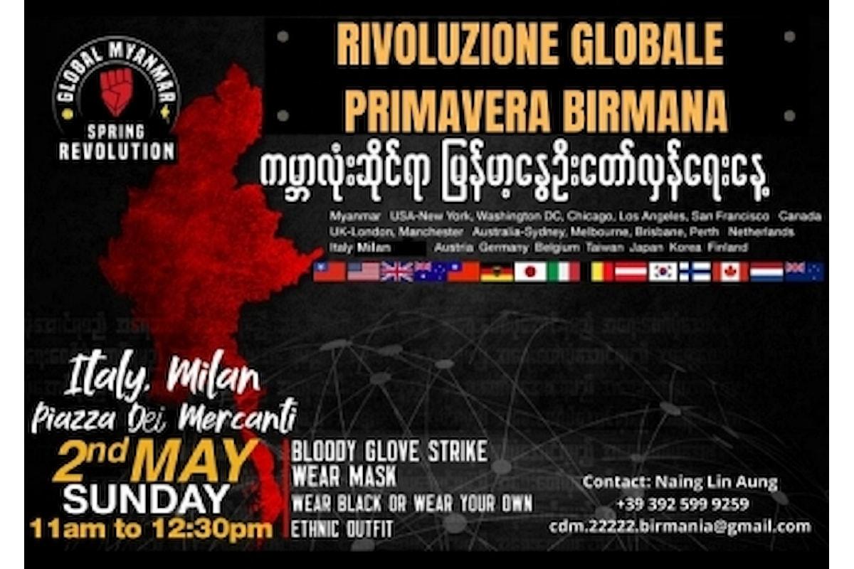 Manifestazione contro il golpe della Birmania a Milano ed in tutto il mondo