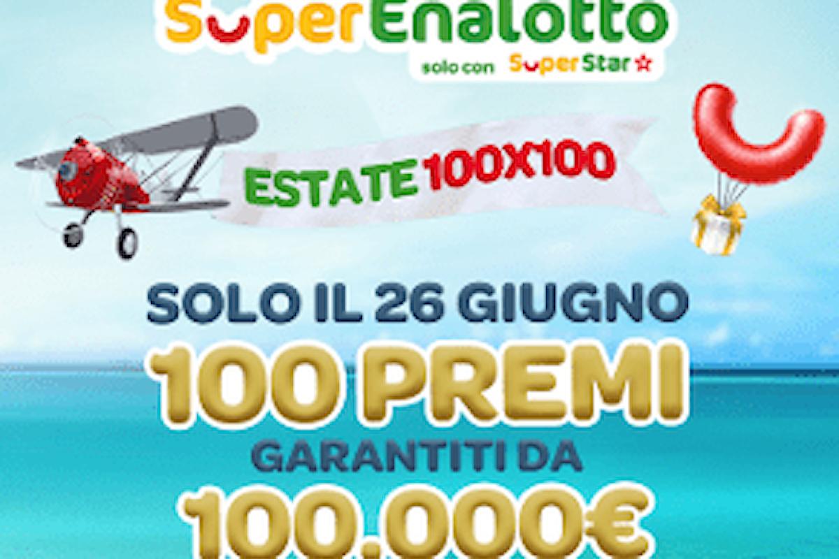 Superenalotto SuperStar, Estate 100X100 2021: il 26 giugno 100 premi da 100.000€ al