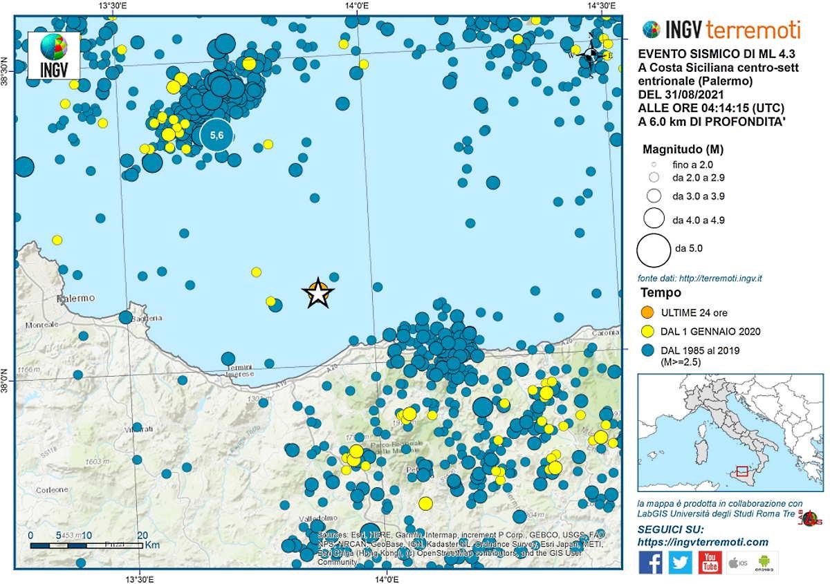 Sicilia, terremoto di magnitudo 4.3 nel mare di fronte a Cefalù