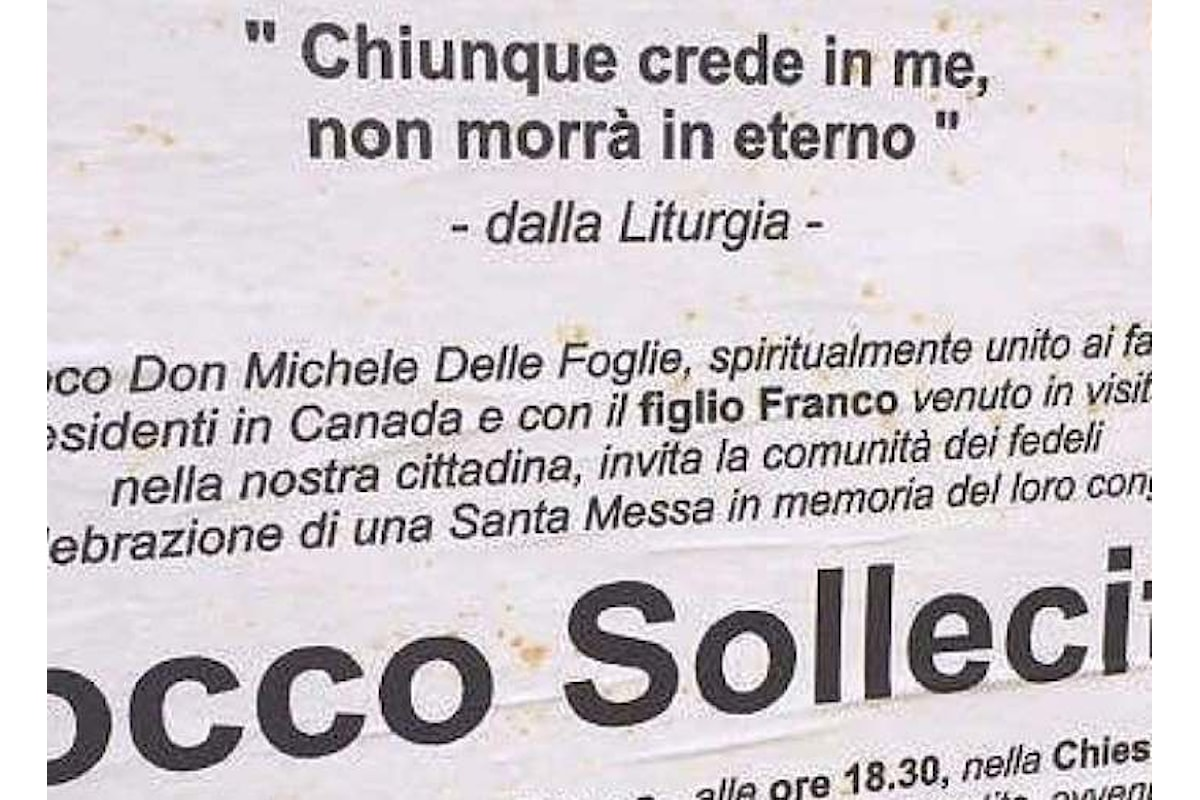 Il curioso manifesto funebre del parroco di Grumo Appula, in provincia Bari