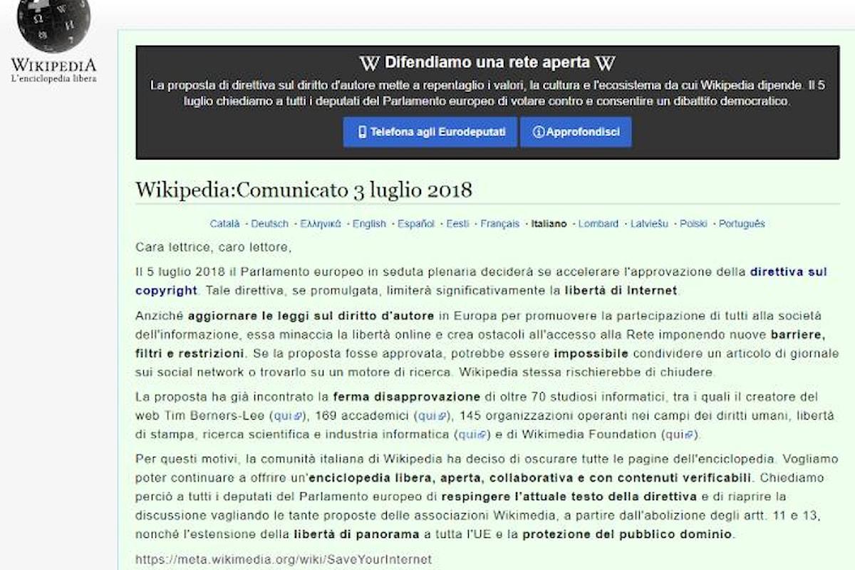 L'assurda legge sul copyright che vuole l'Europa e la giusta battaglia di Wikipedia contro la sua approvazione
