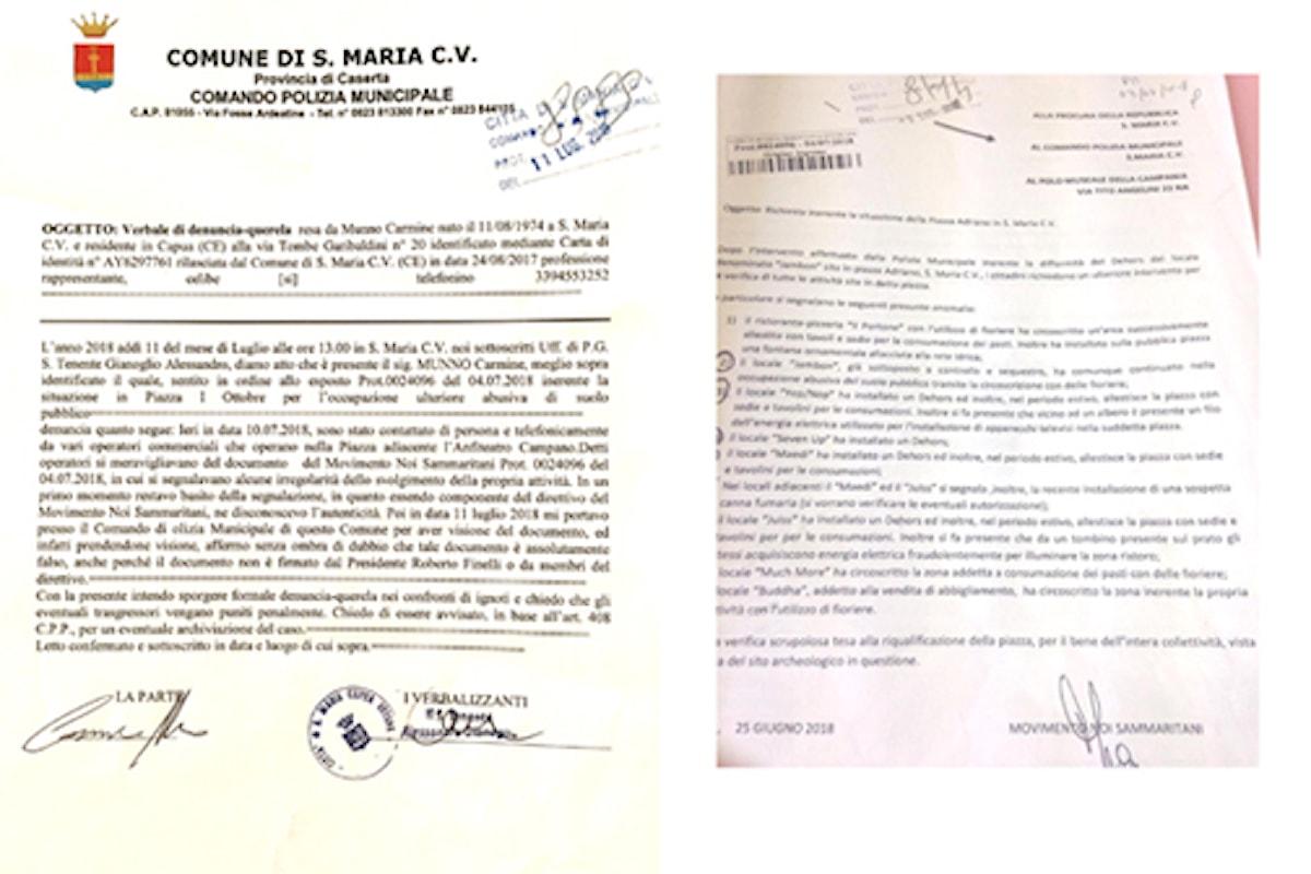 S.Maria C.V. Protocollo falsato per danneggiare sia i commercianti che l'associazione noisammaritani. Parte la denuncia-querela
