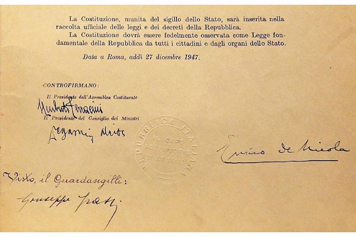 70 anni fa veniva approvata la Costituzione italiana