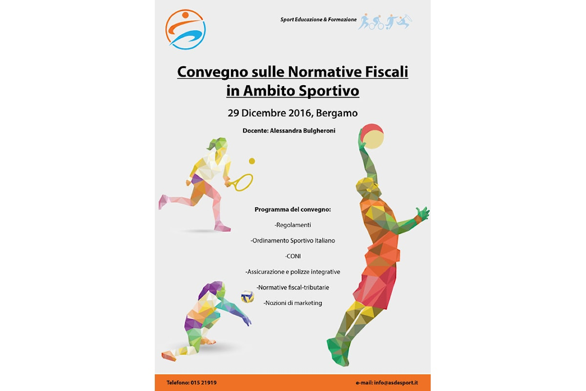 Convegno a Bergamo sulle normative fiscali in ambito sportivo, 29 dicembre 2016