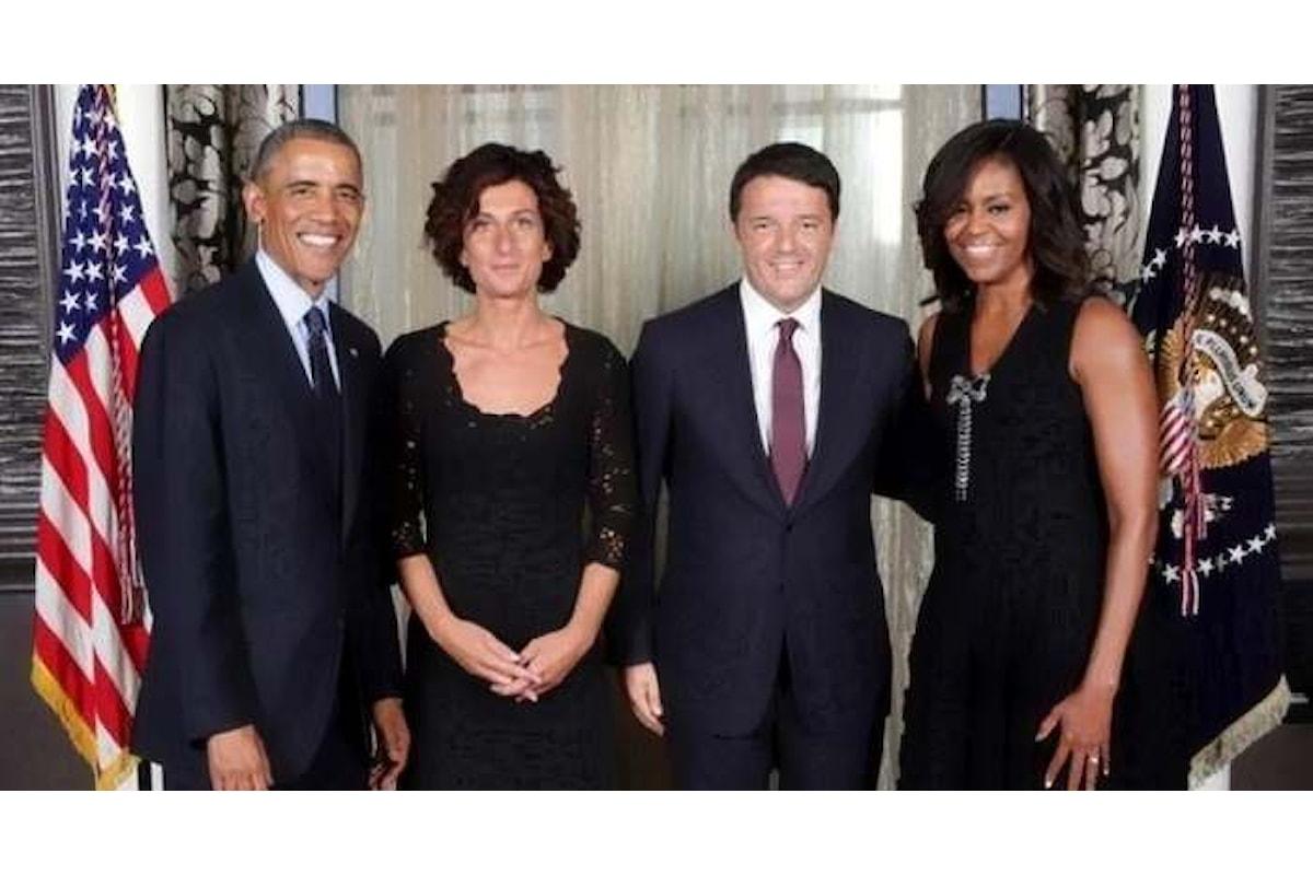 Matteo Renzi all'ultima cena di Barack Obama