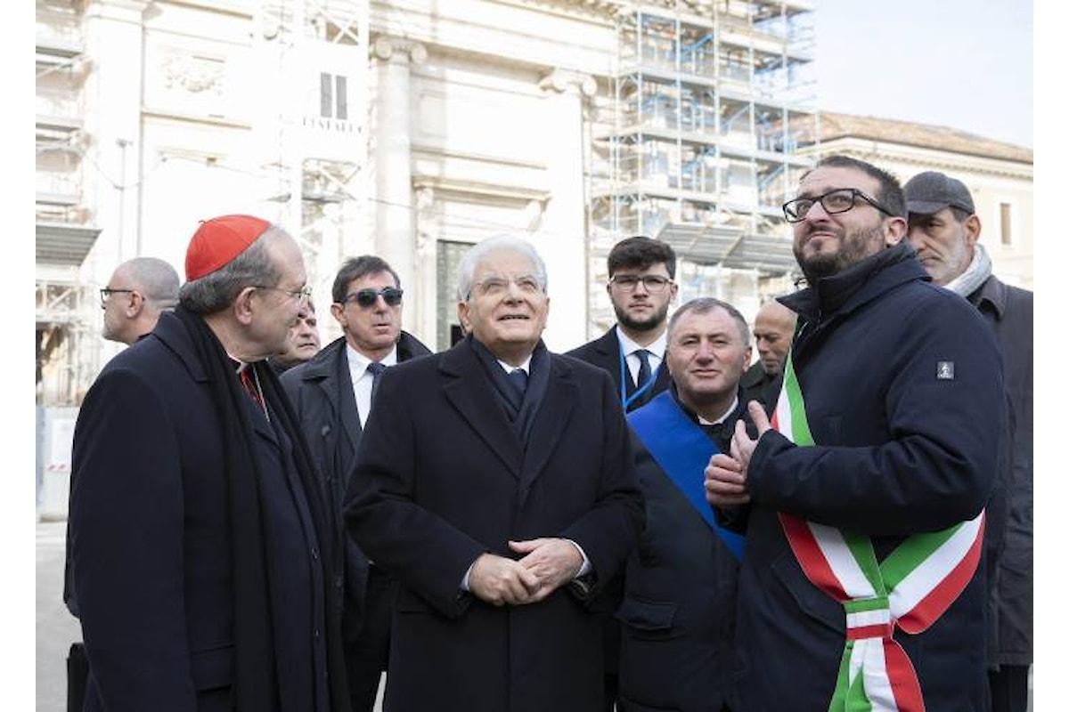 Mattarella a L'Aquila per la riapertura di una chiesa danneggiata dal terremoto del 2009