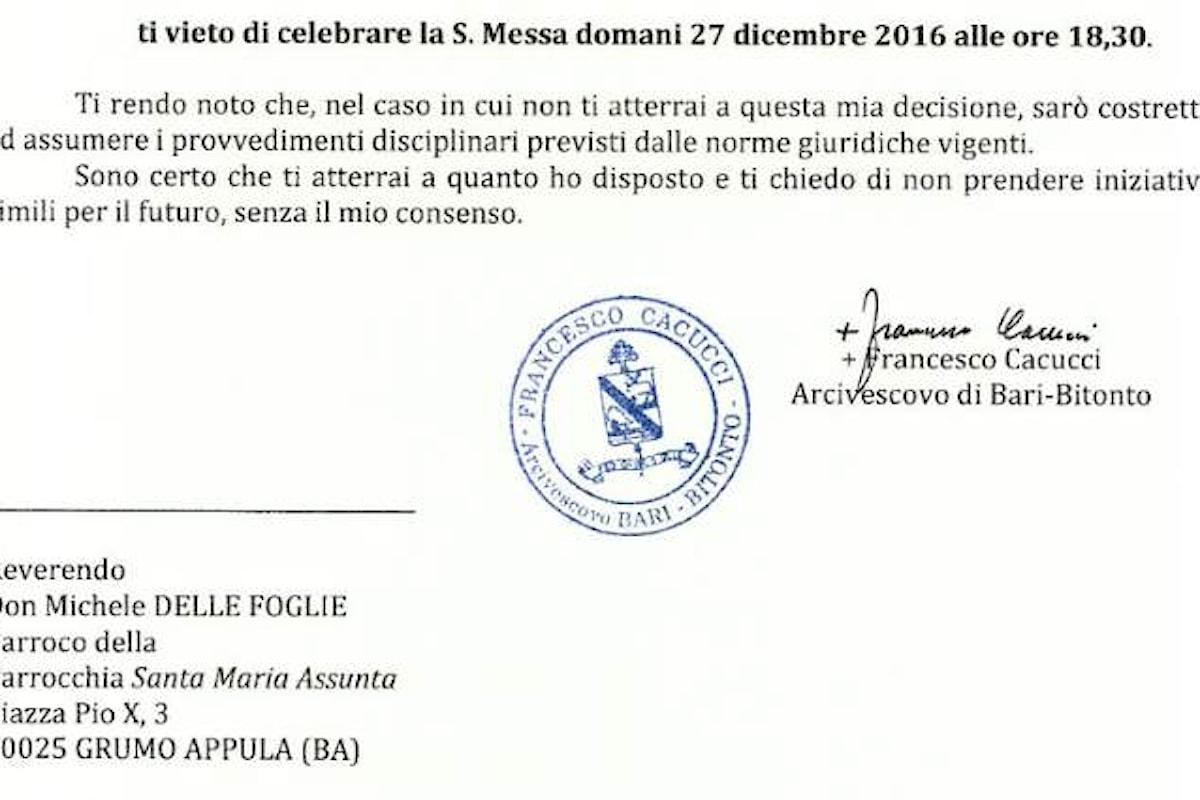 L'arcivescovo di Bari-Bitonto vieta la messa a suffragio per Rocco Sollecito, definendola grave scandalo
