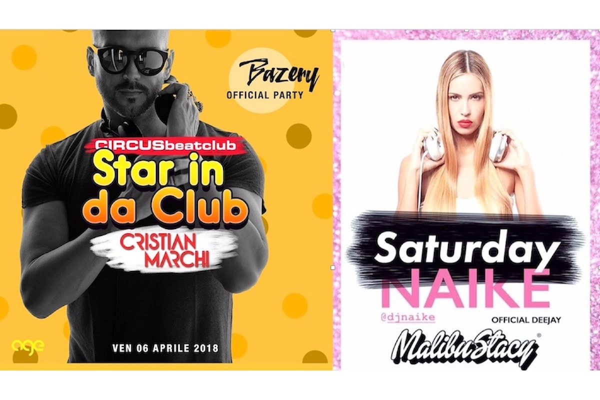 Circus beatclub - Brescia: 6/4 Cristian Marchi per Bazery official party; 7/4 Dj Naike per Malibu Stacy