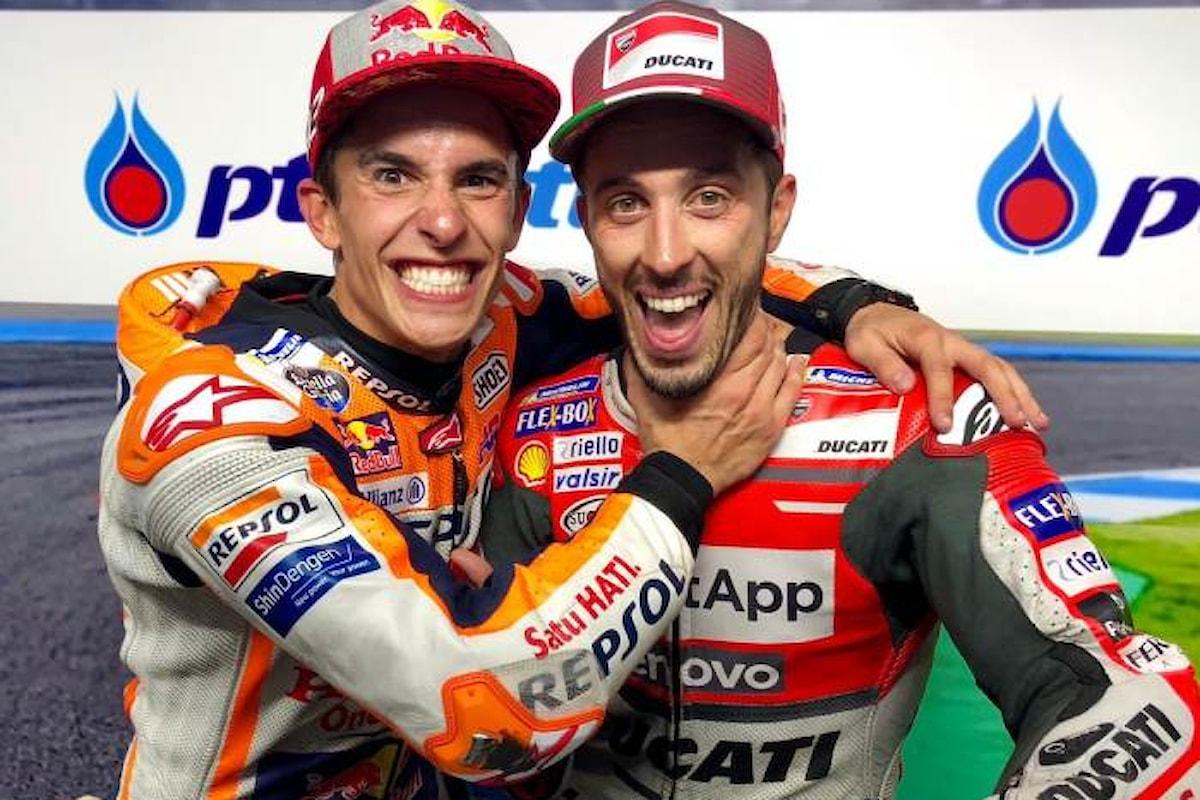 MotoGP, in Thailandia Marquez vince il gran premio all'ultima curva davanti a Dovizioso