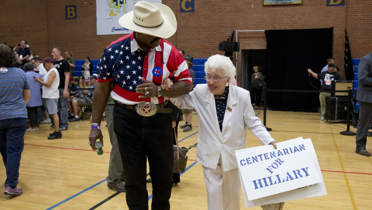 Un'ultracentenaria alla convention democratica di Philadelphia