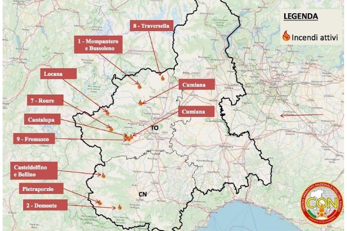 Continua l'emergenza incendi in Piemonte. Difficile la situazione in Val di Susa